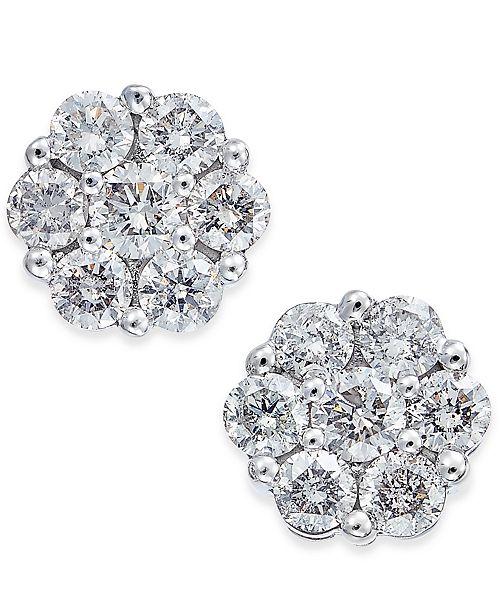 33e5207fc Macy's Diamond Cluster Stud Earrings (1 ct. t.w.) in 14k White Gold ...