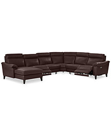 Pirello II 6-Pc. Leather Sectional Sofa With Chaise,  2 Power Recliners with Power Headrests and USB Port, Created for Macy's