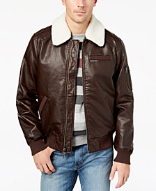 Members Only Men's Fleece-Collar Bomber Jacket