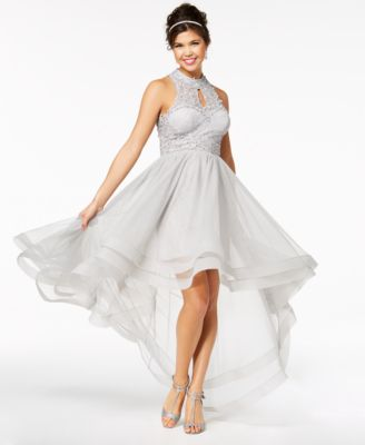 Gold Halter High Low Prom Dresses