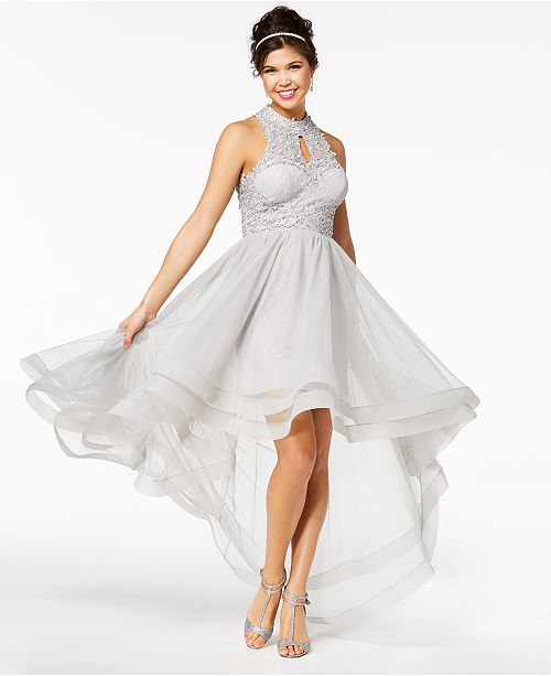 Say Yes To The Prom Juniors Embellished Lace High Low Dress