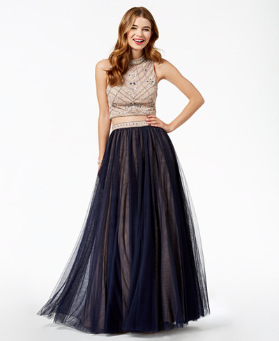 Say Yes to the Prom Juniors' Embellished Contrast 2-Pc. Gown, Created for Macy's