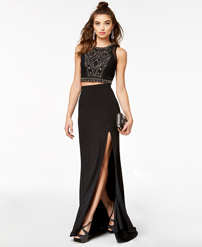 City Studios 2-Pc. Beaded Halter Gown, Created for Macy's