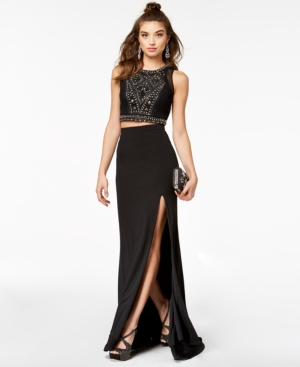 Say Yes to the Prom 2-Pc. Beaded Halter Gown, a Macy's Exclusive Style