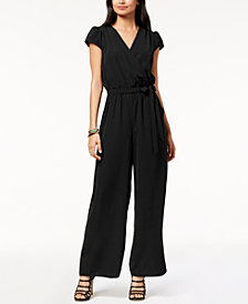 Be Bop Juniors' Cap-Sleeve Surplice Jumpsuit