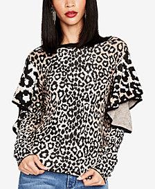 RACHEL Rachel Roy Ruffled Animal-Print Sweater, Created for Macy's