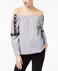 Marella Cotton Poplin Off-The-Shoulder Lace-Trim Top