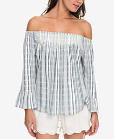 Roxy Juniors' Cotton Print Off-The-Shoulder Top