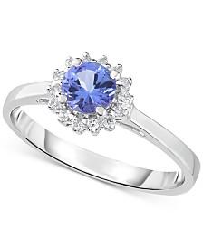 Tanzanite (1/2 ct. t.w.) & Diamond (1/10 ct. t.w.) Ring in 14k White Gold