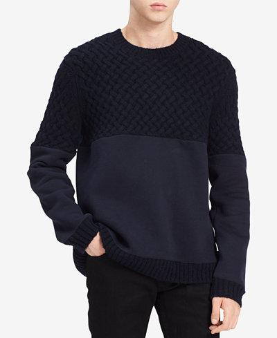 Calvin Klein Jeans Men's Mixed-Media Sweater