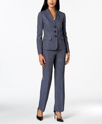 Le Suit Denim Pantsuit Wear To Work Women Macy S