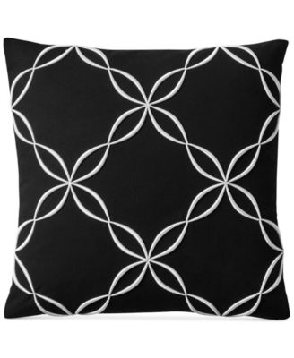 "Outline Embroidered 18"" Square Decorative Pillow, Created for Macy's"