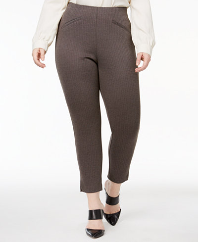 Anne Klein Plus Size Herringbone Skinny Pants