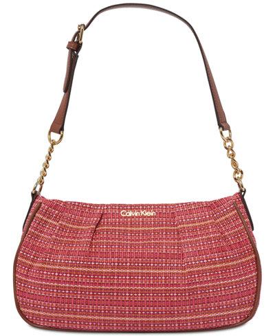 Calvin Klein Raffia Demi Shoulder Bag