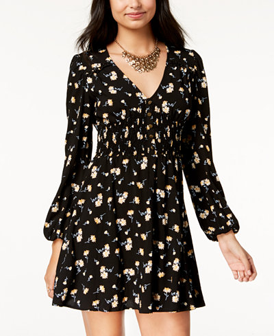 American Rag Juniors' Printed Button-Trim Bubble-Sleeve Dress, Created for Macy's