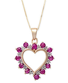 Ruby (1 ct. t.w.) & Diamond Accent Heart Pendant Necklace in 14k Gold