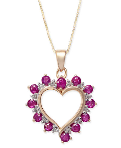 Ruby 1 ct tw diamond accent heart pendant necklace in 14k tw diamond accent heart pendant necklace in 14k gold aloadofball Image collections