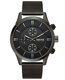 Men's Chronograph Sport Black Stainless Steel Mesh Bracelet Watch 46mm