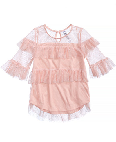 Beautees Mesh Ruffled Top, Big Girls
