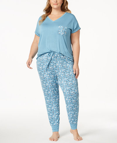 Alfani Plus Size Contrast-Pocket Pajama Set, Created for Macy's