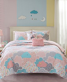 Cloud 5-Pc. Cotton Printed Full/Queen Coverlet Set