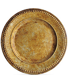 Jay Imports Melamine Beaded Gold-Tone Charger Plate