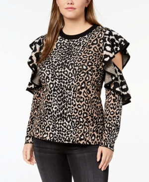 3c139b1627508 Rachel Rachel Roy Trendy Plus Size Ruffled Cold-Shoulder Sweater In  Eggshell Combo
