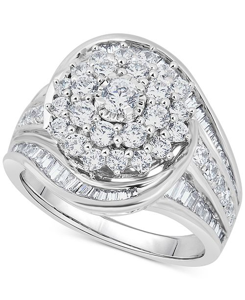 Macy's Diamond Cluster Statement Ring (2 ct. t.w.) in 14k White Gold
