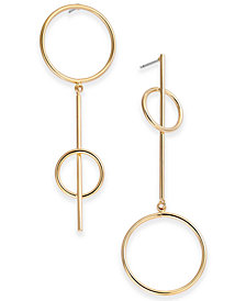 I.N.C. Gold-Tone Double Circle Mismatch Linear Drop Earrings, Created for Macy's
