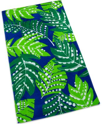 Fanning Ferns Cotton Graphic-Print Beach Towel, Created for Macy's
