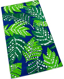 Martha Stewart Collection Fanning Ferns Cotton Graphic-Print Beach Towel, Created for Macy's