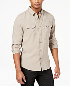GUESS Men's Sandwashed Western Shirt