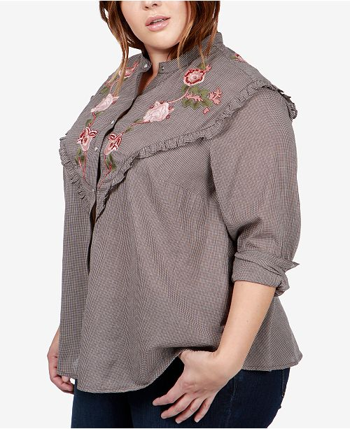 690e8f9123f7e Lucky Brand Trendy Plus Size Cotton Embroidered Western Shirt ...