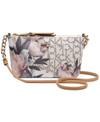 Calvin Klein Hayden Floral Signature Chain Strap Crossbody - Handbags U0026 Accessories - Macyu0026#39;s