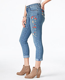 Style & Co Embroidered Curvy Boyfriend Jeans, Created for Macy's
