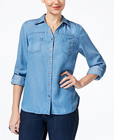 Style & Co Roll-Tab-Sleeve Denim Shirt, Created for Macy's