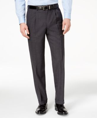 Club Room Classic Fit Solid Navy Blue Double Pleated Wool Dress Pants