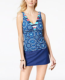 24th & Ocean Viva La Frida Printed Tankini Top & Tummy-Control Swim Skirt