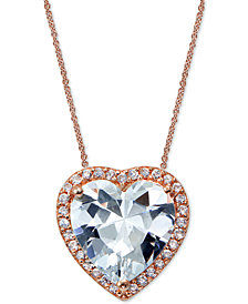 Giani Bernini Cubic Zirconia Heart Pendant Necklace in 18k Rose Gold-Plated Sterling Silver, Created for Macy's