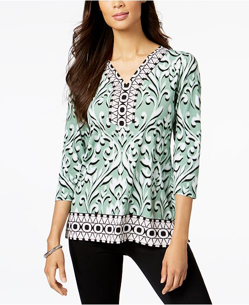 JM Collection Petite Embellished Tunic, Created for Macy's