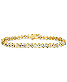 Diamond Swirl Tennis Bracelet (3 ct. t.w.) in 14k Gold