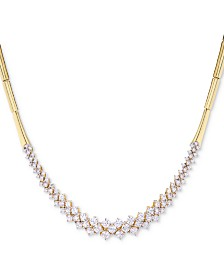 Wrapped in Love™ Diamond Cluster Bar Collar Necklace (3 ct. t.w.) in 14k Gold, Created for Macy's
