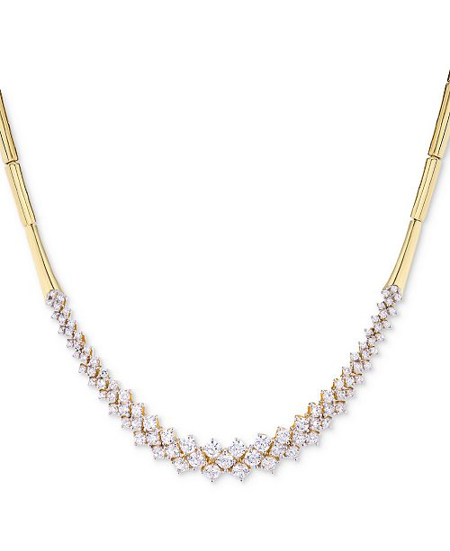 Wrapped in Love Diamond Cluster Bar Collar Necklace (3 ct. t.w.) in 14k Gold, Created for Macy's