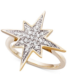 Wrapped™ Diamond Cluster Star Ring (1/6 ct. t.w.) in 10k Gold, Created for Macy's