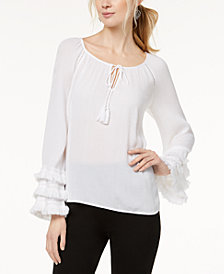 I.N.C. Petite Fringe-Trim Peasant Top, Created for Macy's