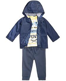 Hooded Windbreaker, Adventure-Print T-Shirt & Jogger Pants, Baby Boys, Created for Macy's