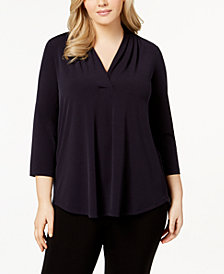 Charter Club Plus Size Pleated V-Neck Top, Created for Macy's