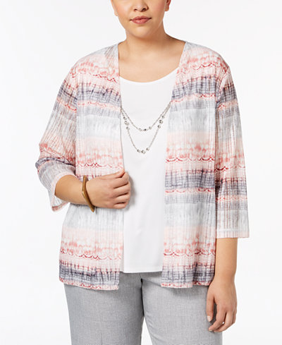 Alfred Dunner Plus Size Lakeshore Drive Layered-Look Top