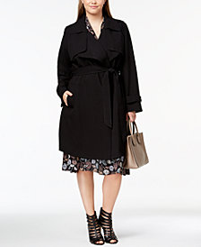 MICHAEL Michael Kors Plus Size Belted Wrap Trench Coat