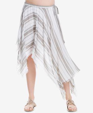 Max Studio London Cotton Asymmetrical Striped Skirt, Created for Macy's thumbnail